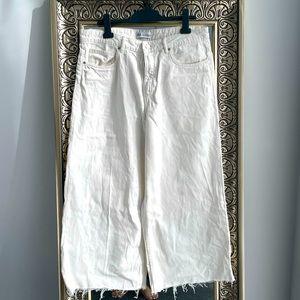 White denim wide leg pants
